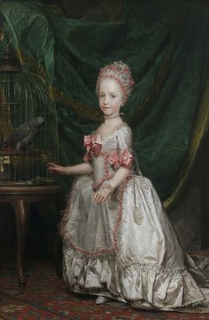 Portrait of a young Maria Theresa of Austria, Queen of Saxony. She was the first daughter and oldest child of the future Leopold II and Maria Luisa of Spain.