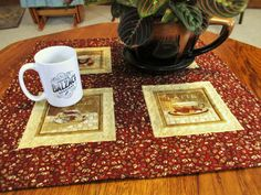 Quilted Table Topper Coffee Table Runner Red by MommaBearsQuilts