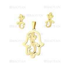 juego colgante y aretes geco en acero dorado inoxidable -SSSTG1074299