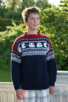 Genser - Marius møter Pacman | Flickr - Photo Sharing! Blade Runner 1, Crochet Projects, Christmas Sweaters, Knit Crochet, Knitting Patterns, Board, Fashion, Young Man, Men