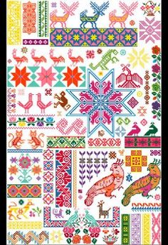 Vector Mexicanos Ravelry: from yarnjungle Mexican motifs Sampler Cross Stitch Borders, Cross Stitch Samplers, Cross Stitch Charts, Cross Stitch Designs, Cross Stitch Patterns, Mexican Embroidery, Folk Embroidery, Cross Stitch Embroidery, Embroidery Patterns