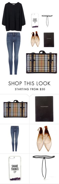 """H.K.6"" by minee1997 ❤ liked on Polyvore featuring Burberry, Smythson, 7 For All Mankind, Zara, Kate Spade and Aamaya by Priyanka"