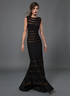 Jersey Boatneck Gown with Foil Print Trim Detail in Black/Copper | Tadashi Shoji