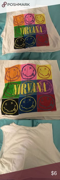 NIRVANA GRAPHIC CROP MUSCLE CROP TANK nirvana muscle tank/crop top, super cute! Tags: forever 21, hot topic, h&m, brandy Melville Forever 21 Tops Crop Tops