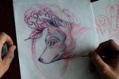 Fox tattoo sketch drawing