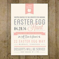 Easter Invitation Personalized Digital Printable. Custom retro design. Easter Egg Hunt Invitation.