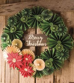 "Rosette Holiday Wreath || JoAnn, detailed instructions, uses Cricut || 36"" diameter!! has 10"" dia large rosettes"
