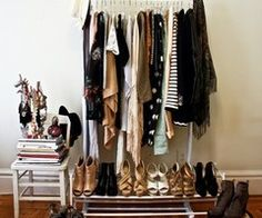 free-standing closet - yes, please!  like free-standing, ever-rotating and changing art