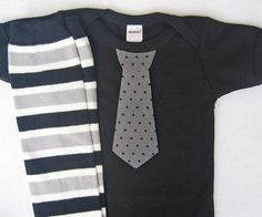 My baby is all grown up :(..Black Gray Baby Boy Tie Onesie matching striped leg warmers - children, baby clothing 0-3, 3-6, 6-12 and 12-18 months  long or short sleeves. $22.50, via Etsy.