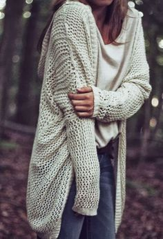 Oversized White Crochet Cardigan