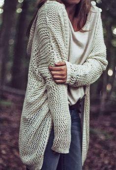 Oversized White Crochet Cardigan