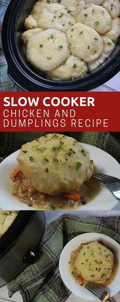 Slow Cooker Chicken and Dumplings Recipe is an easy comfort food dinner the whol… Dinner Chicken – Dinner Recipes Crock Pot Slow Cooker, Crock Pot Cooking, Slow Cooker Chicken, Slow Cooker Recipes, Crockpot Recipes, Chicken Recipes, Cooking Recipes, Crock Pots, Crockpot Dishes