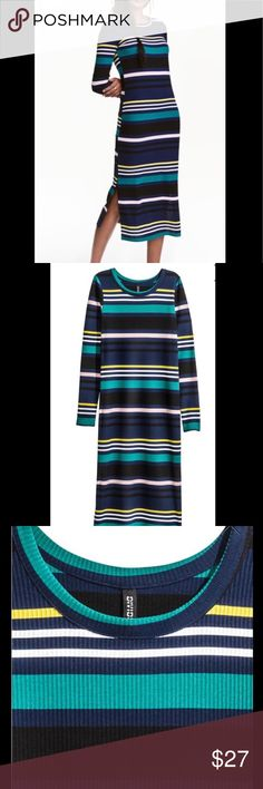H&M Striped Knit Dress Long Sleeve Pinterest Super cute knit long sleeved dress!! This one is the same one as the iconic pin pictured, just a different pattern :) H&M Dresses Long Sleeve