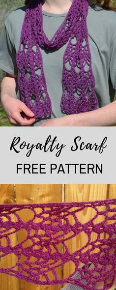 It's easy, it's free, its a one-skein project…it's Royalty Scarf! This pattern is so much fun to make. You need only 50 grams of lace yarn to make this scarf, and plus, it is made of simple stitches! What are you waiting for? Quick Crochet, Learn To Crochet, Free Crochet, Crochet Scarves, Crochet Shawl, Crochet Yarn, Crochet Stitches, Beginner Crochet Projects, Crochet For Beginners