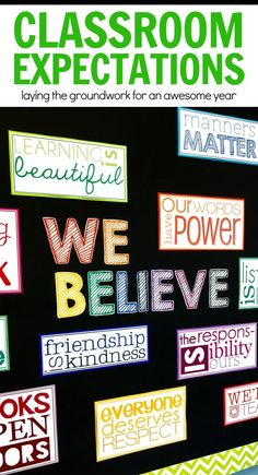 For front of counter? These belief statements can change an entire classroom culture. Rather than introducing or creating 'class rules', these basic tenants are ideals my class holds about our classroom, our work together, and the world. Classroom Bulletin Boards, Classroom Posters, Classroom Themes, Classroom Organization, Classroom Management, Kindergarten Classroom, Bulletin Board Ideas For Teachers, Counselor Bulletin Boards, Kindness Bulletin Board