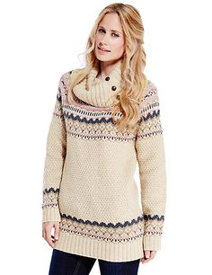 Zig Zag Fair Isle Knitted Tunic with Wool | M&S