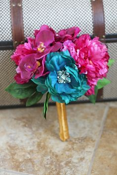 Teal and Fuchsia Bouquet - Southern Girl Weddings