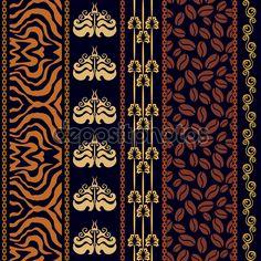 Art Deco vintage seda papel pintado con motivos antiguos de fantasía. Estampado de cebra, de Damasco de fronteras, patrón de café, raya de desplazamiento, elementos de boho — Ilustración de stock #105755838