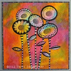 Art quilt.  I like this, it almost looks like a zentangle....wonder if its inked or stitched.