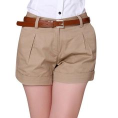 """"""" Korea Summer Woman Cotton Shorts Size New Fashion Design Lady Casual Short Trousers Solid Color Khaki Size M And XXL Sold Out Shorts Cáqui, Casual Shorts, Girls Khaki Shorts, Pleated Shorts, Sexy Shorts, Fashion Pants, New Fashion, Fashion Women, Style Fashion"""