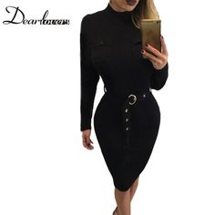 New Price $14.96, Buy Dear lover Women Winter Office Dress Black High Neck Long Sleeve Bodycon Dress 2017 Rib Knitted Midi Dress with Belt LC61397