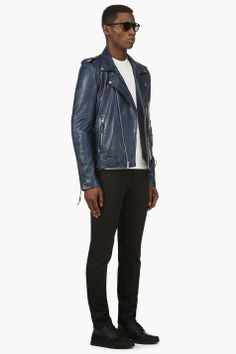 BLK DNM Navy Blue Leather ICONIC MOTORCYCLE JACKET