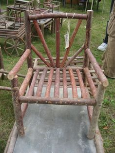 Red Willow Twig or Stick Doll Furniture Chair