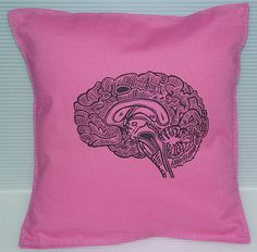 Geekery Girl Pillow Cushion Linocut Brain Print by VintageUpcycled, $30.00 With my original linocut-hand printed to the fabric!