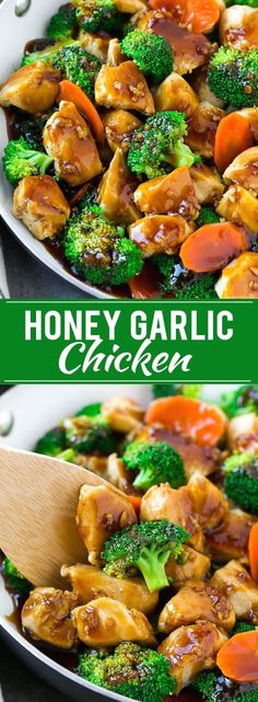 THIS HONEY GARLIC CHICKEN STIR FRY RECIPE IS FULL OF CHICKEN AND VEGGIES, ALL COATED IN THE EASIEST SWEET AND SAVORY SAUCE. A HEALTHIER DINNER OPTION THAT THE WHOLE FAMILY WILL LOVE!  https://www.pinterest.com/pin/534309943283143064/