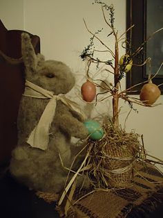 love the egg tree with burlap