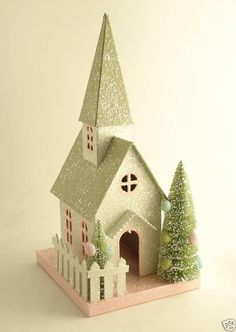 The Pastel World of Easter Village Houses Miniature Christmas, Christmas Paper, Christmas Home, Vintage Christmas, Christmas Glitter, Christmas Village Houses, Putz Houses, Christmas Villages, Holiday Crafts