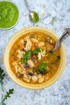 (Use one can butterbeans and 4 oz. chicken; omit Parm) This butterbean chicken soup with rocket pesto is simple, hearty and delicious. Swap extra beans for the chicken for a vegetarian version.