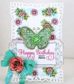 Birthday card created by Eva Dobilas using JustRite Papercraft stamps and Spellbinders.