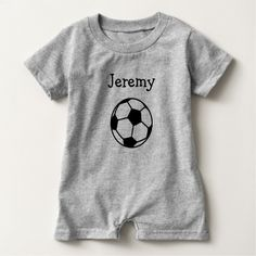 Custom name soccer ball baby romper bodysuit by logotees on Zazzle  @zazzle #baby #clothes #jumper #apparel #fashion #fun #sweet #awesome #buy #shop #sale #cute #toddler #newborn #shower #gift #babyshower #idea #giftidea #mom #expecting #children #cool #shirt #tee #t-shirt #tshirt