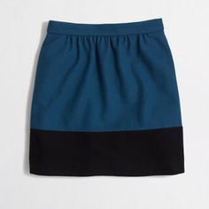"""New J.Crew Factory Colorblock Skirt Double Serge This new blue and super dark navy  blue Colorblock skirt in double serge wool from JCrew factory features a back center zip closure and is fully lined. Made of a wool blend. Measures: Waist: 26"""", Hips: 37"""", Total Length: 17"""" J. Crew Skirts"""
