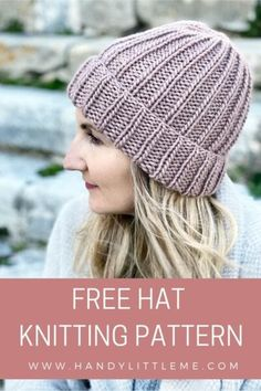 How To Knit A Hat With Straight Needles | Handy Little Me Knit Hat Pattern Easy, Easy Knit Hat, Free Knitting Patterns For Women, Beanie Pattern Free, Knitting For Beginners, Mens Hat Knitting Pattern, Baby Hat Knitting Patterns Free, Knitted Hats Kids, Knit Hats