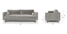 Sven Intuition Gray Sofa - Dimensions