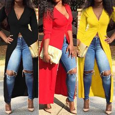 Plunging Neck 3 4 Sleeve High Slit Maxi Dress For Women Mode Outfits, Sexy Outfits, Dress Outfits, Casual Outfits, Fashion Dresses, Long Shirt Outfits, Long Shirts, Fashion Styles, Fashion Ideas