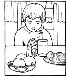 coloring page of a boy praying grace before a meal
