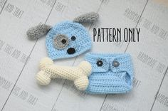 CROCHET PATTERN Newborn Puppy hat and by HandmadeThisAndThat
