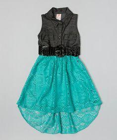 Look what I found on #zulily! Mint Belted Sleeveless Dress - Toddler & Girls #zulilyfinds