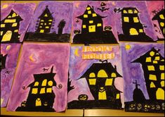 L'art visuel pour Halloween, des maisons fantasmagoriques. Idée trouvée sur pinterest puis sur ce site américain : Art Teacher in LA....