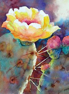 CACTUS BLOOM by Mary Shepard ~ Image size: 9.5 x 7.5 in 11 x 14 white mat