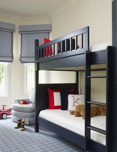 kids room, traditional, shared room, bay window, roman shades, patterned carpeting, grays, red, black, white, designed by Palmer Weiss