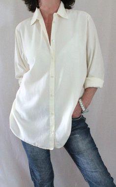 J. Jill Cotton Silk L Sleeve Long Button Down Shirt Ivory Sz L #JJill…