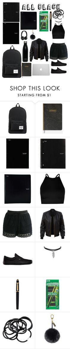 """""""All Black All The Time"""" by tarilove ❤ liked on Polyvore featuring Herschel Supply Co., ACCO, Five Star, Beats by Dr. Dre, Boohoo, Chicwish, LE3NO, Vans, Cartier and H&M"""