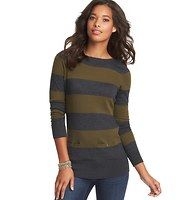 Striped Front Pocket Tunic Sweater - Button-through pockets bring an unexpectedly cute element to this wide striped boatneck style – with an utterly feminine fit. Long sleeves. Ribbed neckline, cuffs and hem.