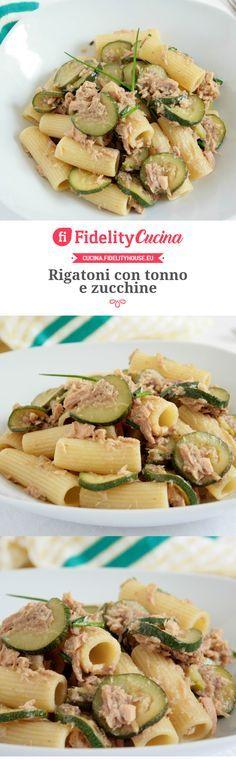 Rigatoni con tonno e zucchine Rigatoni, Pasta Recipes, Cooking Recipes, Healthy Recipes, Zucchini, Italy Food, Le Diner, Light Recipes, How To Cook Pasta