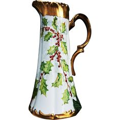 Magnificent T & V Limoges France 1900's Hand Painted 'Christmas Holly & Berry' 15' Floral Tankard by the Artist, 'Inderhees'