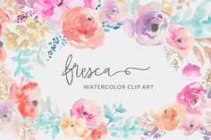 Fresca- Watercolor Flower Clip Art by Angie Makes on Creative Market